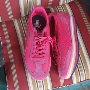 Hot pink platform style Puma sneakers size 10